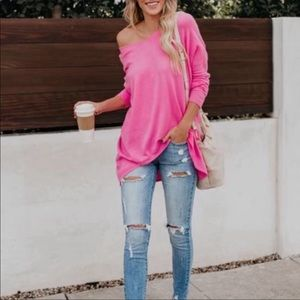 Pink oversized loose sweater